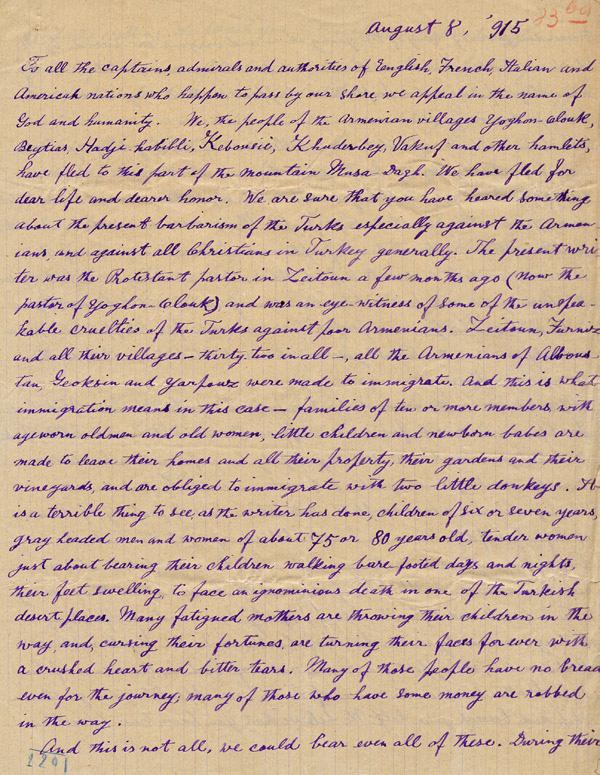 Extrêmement Lettre du pasteur arménien Dikran Antreassian · Milguerres JD88