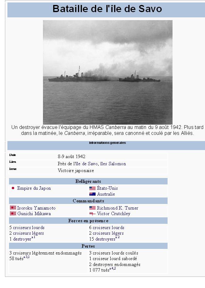La bataille de l'île de Savo savo