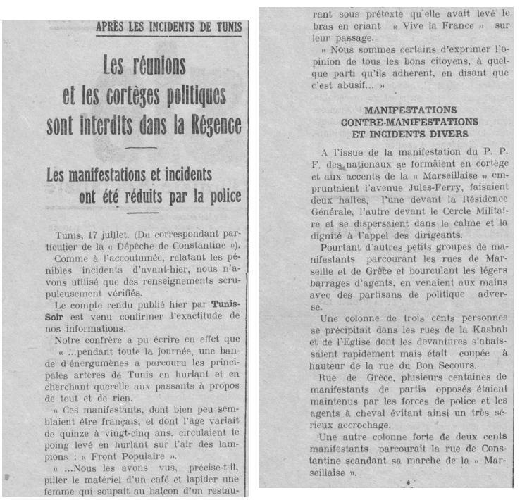 Article : Les réunions et les cortèges politiques sont interdits dans la Régence - Juillet 1937 article-refait-1