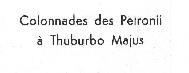 Les colonnades des Petronii à Thuburbo Majus export